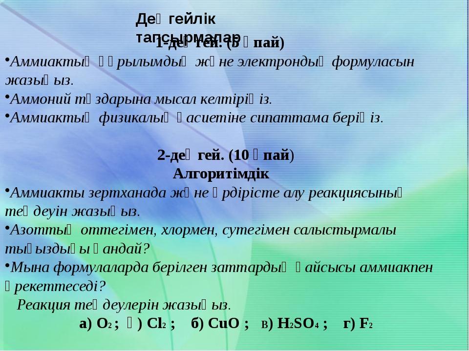 3-деңгей (15 ұпай) Эвристикалық 1)Іс жүзінде жүретін реакциялардың молекулал...