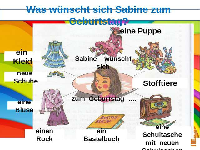 Was wünscht sich Sabine zum Geburtstag? eine Puppe Stofftiere ein Kleid neue...