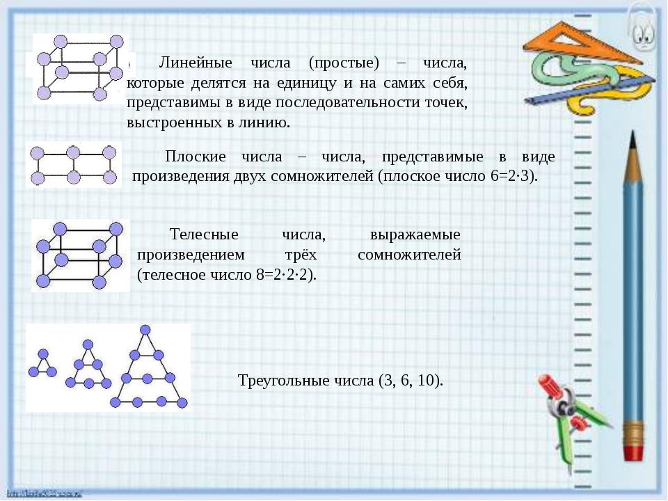Линейные числа (простые) – числа, которые делятся на единицу и на самих себя,...