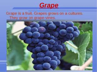 Grape Grape is a fruit. Grapes grows on a cultures. They grow on grape-vines.