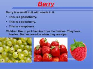 Berry Berry is a small fruit with seeds in it. This is a gooseberry. This is