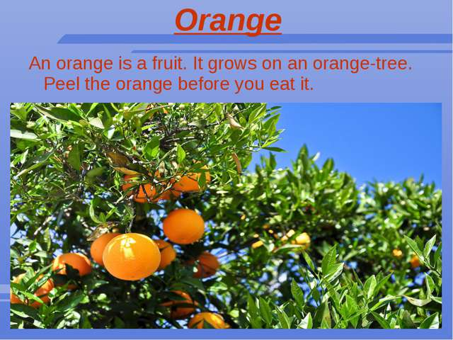 Orange An orange is a fruit. It grows on an orange-tree. Peel the orange befo...