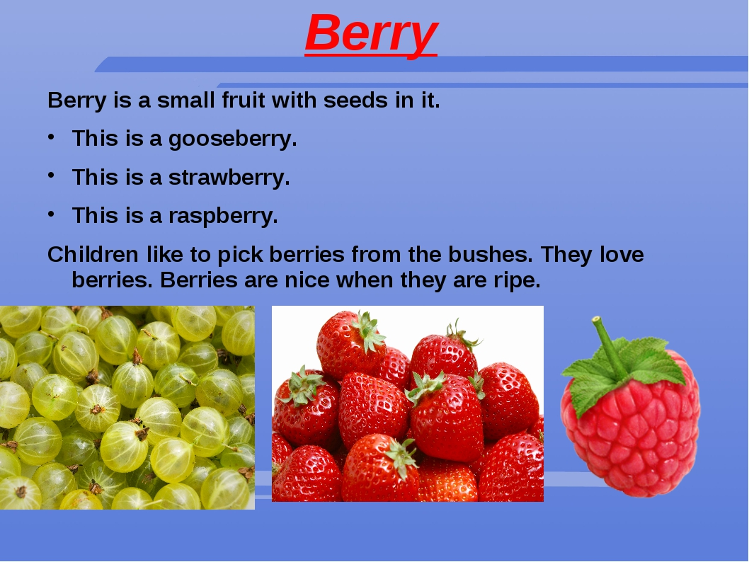Berry Berry is a small fruit with seeds in it. This is a gooseberry. This is...