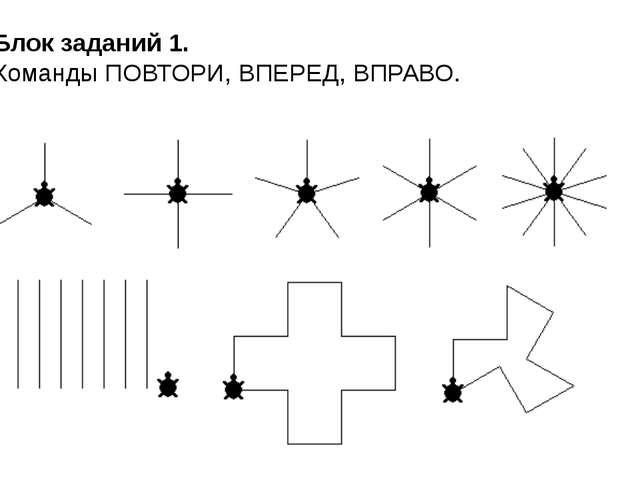 Блок заданий 1. Команды ПОВТОРИ, ВПЕРЕД, ВПРАВО.