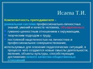 Исаева Т.И. Компетентность преподавателя – уникальная система профессионально