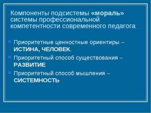 Компоненты подсистемы «мораль» системы профессиональной компетентности соврем