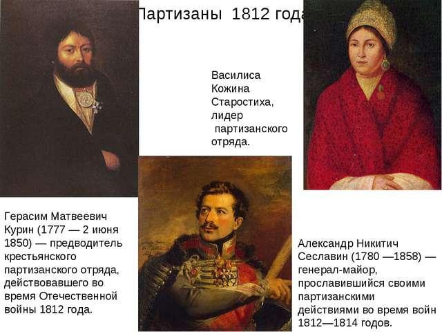 Партизаны 1812 года Василиса Кожина Старостиха, лидер партизанского отряда. Г...