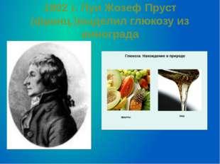 1802 г. Луи Жозеф Пруст (франц.)выделил глюкозу из винограда