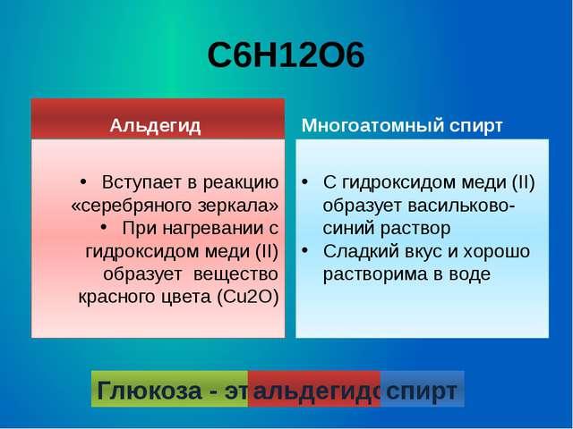 С6Н12О6 Многоатомный спирт С гидроксидом меди (II) образует васильково-синий...