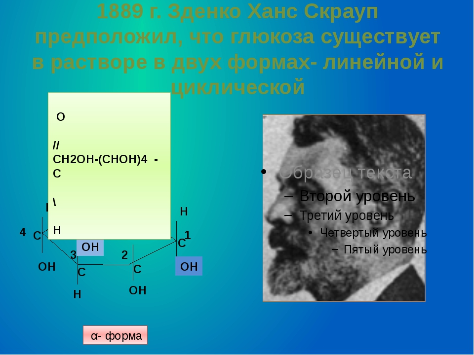 1889 г. Зденко Ханс Скрауп предположил, что глюкоза существует в растворе в д...