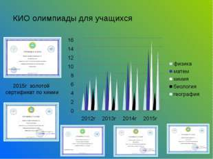 КИО олимпиады для учащихся 2015г золотой сертификат по химии