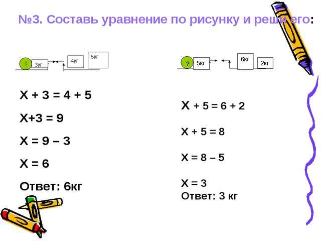 №3. Составь уравнение по рисунку и реши его: ? 3кг 4кг 5кг ? 5кг 6кг 2кг Х +...
