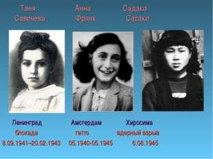 Таня Анна Садако Савичева Франк Сасаки Ленинград Амстердам Хиросима блокада