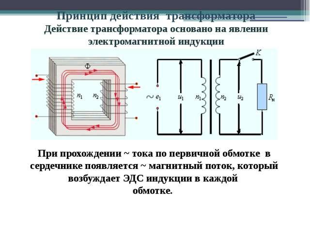 При прохождении ~ тока по первичной обмотке в сердечнике появляется ~ магнит...