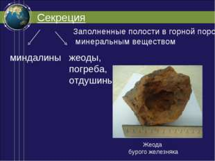 Секреция Заполненные полости в горной породе минеральным веществом миндалины