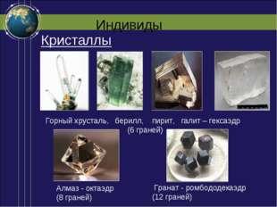 Индивиды Алмаз - октаэдр (8 граней) Горный хрусталь, берилл, пирит, галит – г