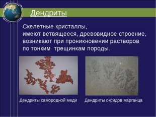 Дендриты Скелетные кристаллы, имеют ветвящееся, древовидное строение, возника