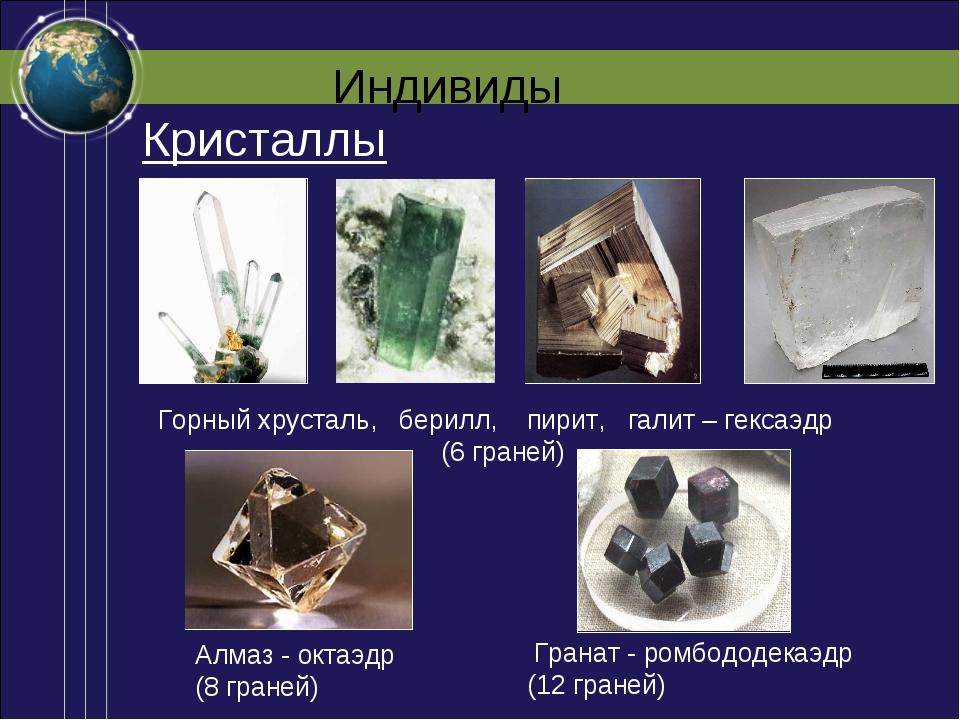 Индивиды Алмаз - октаэдр (8 граней) Горный хрусталь, берилл, пирит, галит – г...