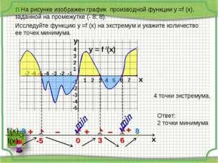 П На рисунке изображен график производной функции у =f (x), заданной на проме