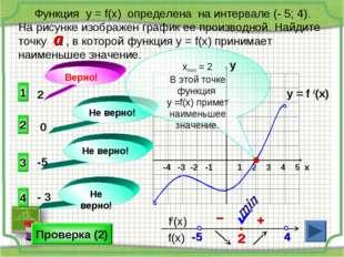 y = f /(x) 1 2 3 4 5 х -4 -3 -2 -1    1 3 4 2 Не верно! Не верно! Не верно