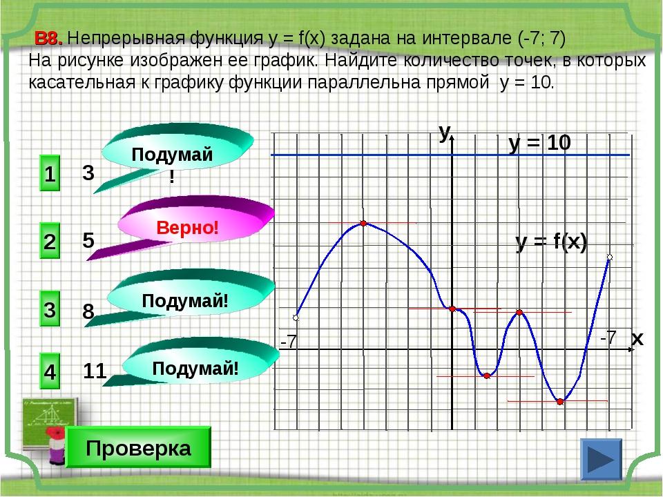 1 4 3 3 В8. Непрерывная функция у = f(x) задана на интервале (-7; 7) На рисун...