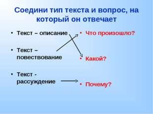 Соедини тип текста и вопрос, на который он отвечает Текст – описание Текст –