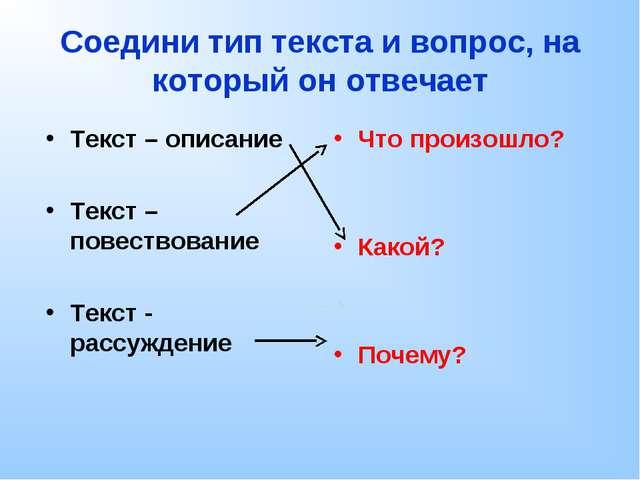 Соедини тип текста и вопрос, на который он отвечает Текст – описание Текст –...