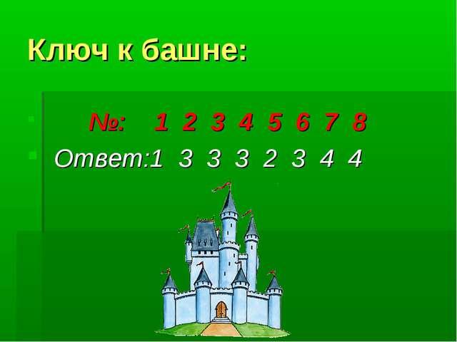 Ключ к башне: №: 1 2 3 4 5 6 7 8 Ответ:1 3 3 3 2 3 4 4