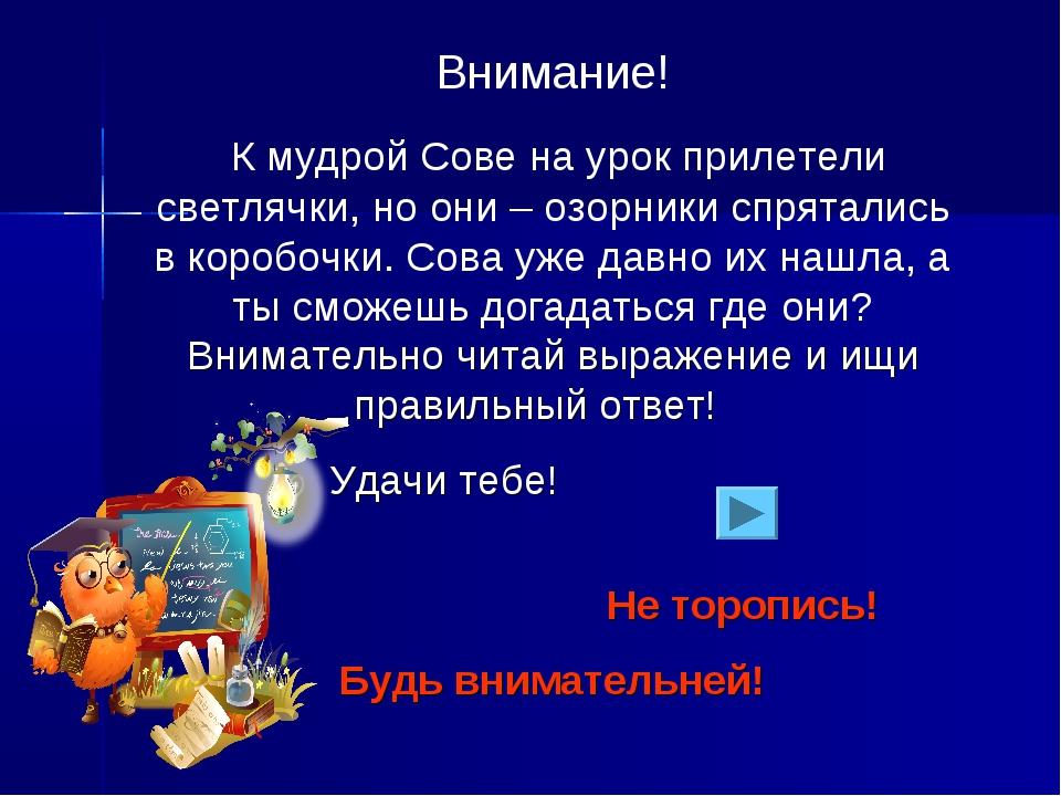 Внимание! К мудрой Сове на урок прилетели светлячки, но они – озорники спрята...