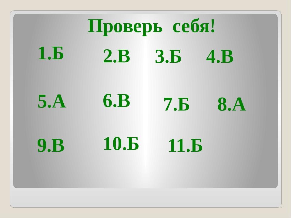 Проверь себя! 1.Б 2.В 3.Б 4.В 5.А 6.В 7.Б 8.А 9.В 10.Б 11.Б
