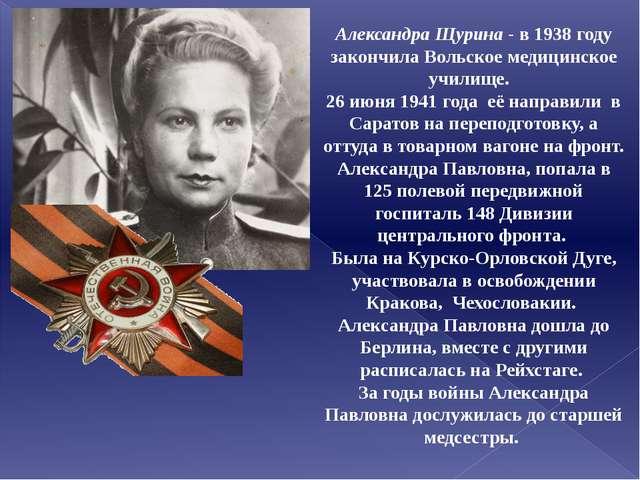 Александра Щурина - в 1938 году закончила Вольское медицинское училище. 26 ию...
