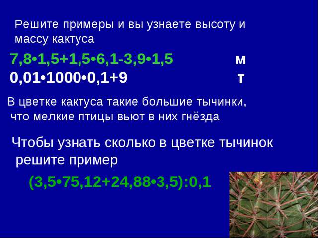 Решите примеры и вы узнаете высоту и массу кактуса 7,8•1,5+1,5•6,1-3,9•1,5 м...