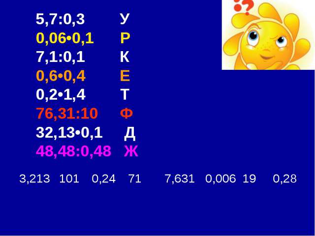 5,7:0,3 У 0,06•0,1 Р 7,1:0,1 К 0,6•0,4 Е 0,2•1,4 Т 76,31:10 Ф 32,13•0,1 Д 48,...