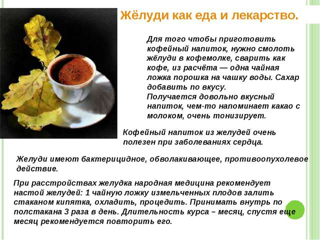 Жёлуди как еда и лекарство. Для того чтобы приготовить кофейный напиток, нужн...