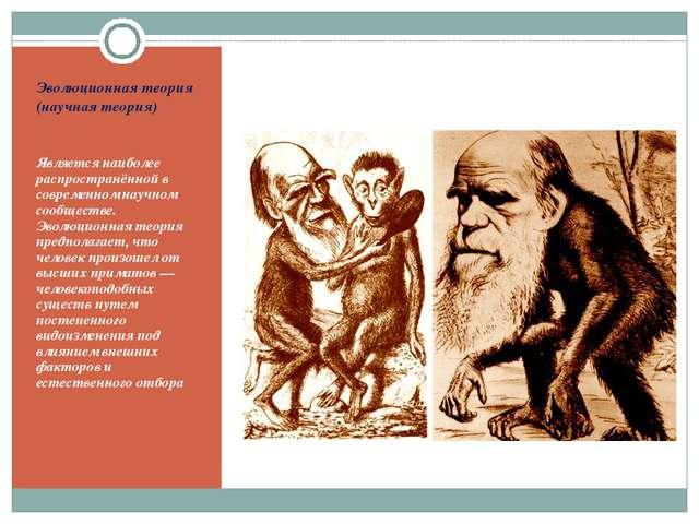 Эволюционная теория (научная теория) Является наиболее распространённой в сов...