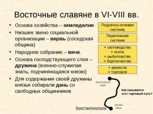 Восточные славяне в VI-VIII вв. Основа хозяйства – земледелие Низшее звено со