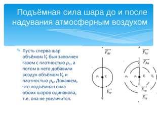 Подъёмная сила шара до и после надувания атмосферным воздухом