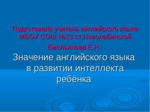 Подготовила учитель английского языка МБОУ СОШ №13 ст.Новолабинской Емельянов