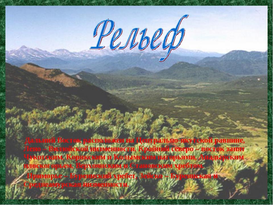 Дальний Восток расположен на Центрально-якутской равнине, Лено – Вилюйской н...