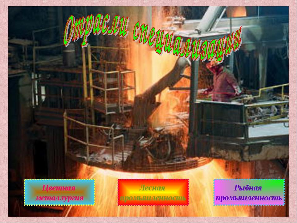 Цветная металлургия Лесная промышленность Рыбная промышленность