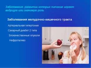 Заболевания, развитии которых питание играет ведущую или значимую роль Заболе