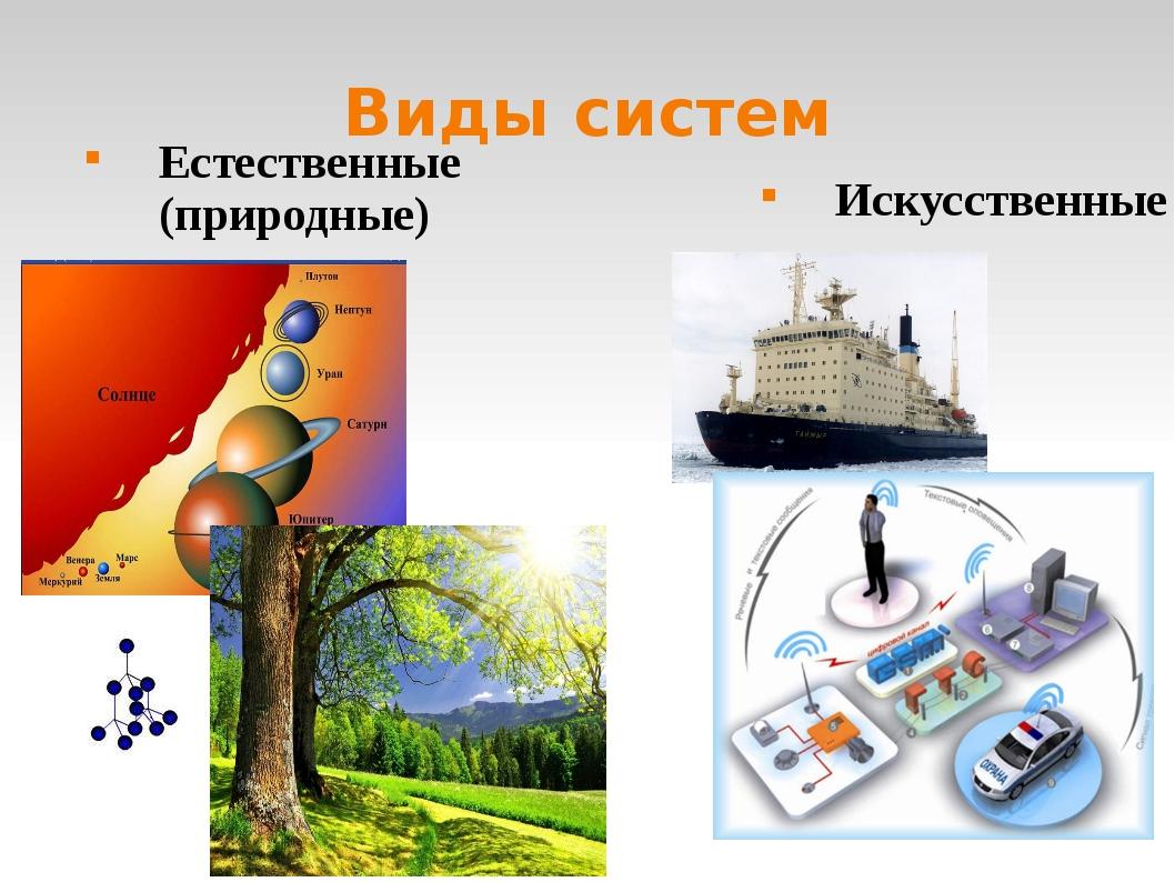 Виды систем Естественные (природные) Искусственные
