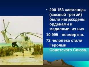 200 153 «афганца» (каждый третий) были награждены орденами и медалями, из них