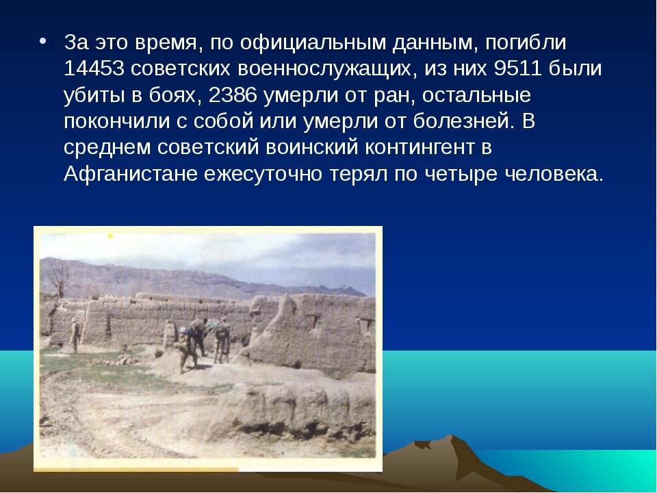 За это время, по официальным данным, погибли 14453 советских военнослужащих,...