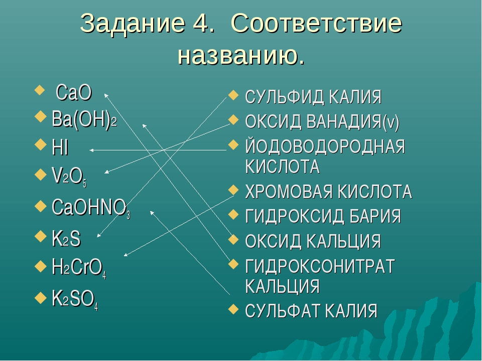 Задание 4. Соответствие названию. СУЛЬФИД КАЛИЯ ОКСИД ВАНАДИЯ(v) ЙОДОВОДОРОДН...