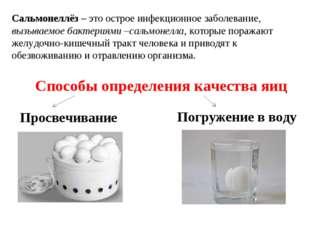 Способы определения качества яиц Просвечивание Погружение в воду Сальмонеллёз
