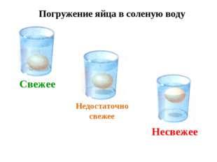 Свежее Недостаточно свежее Несвежее Погружение яйца в соленую воду