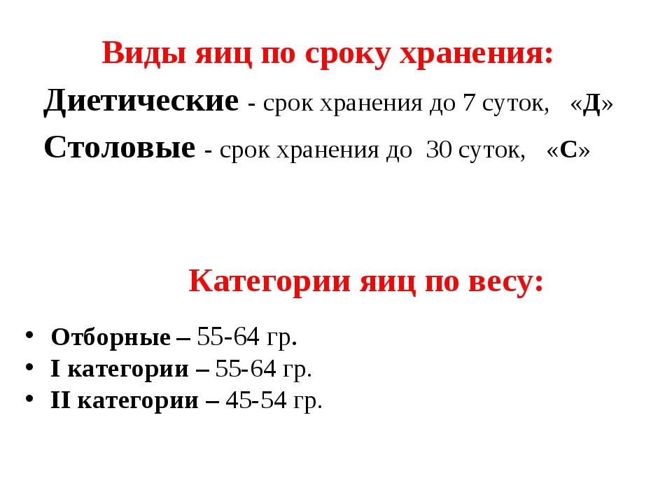 Диетические - срок хранения до 7 суток, «Д» Столовые - срок хранения до 30 су...