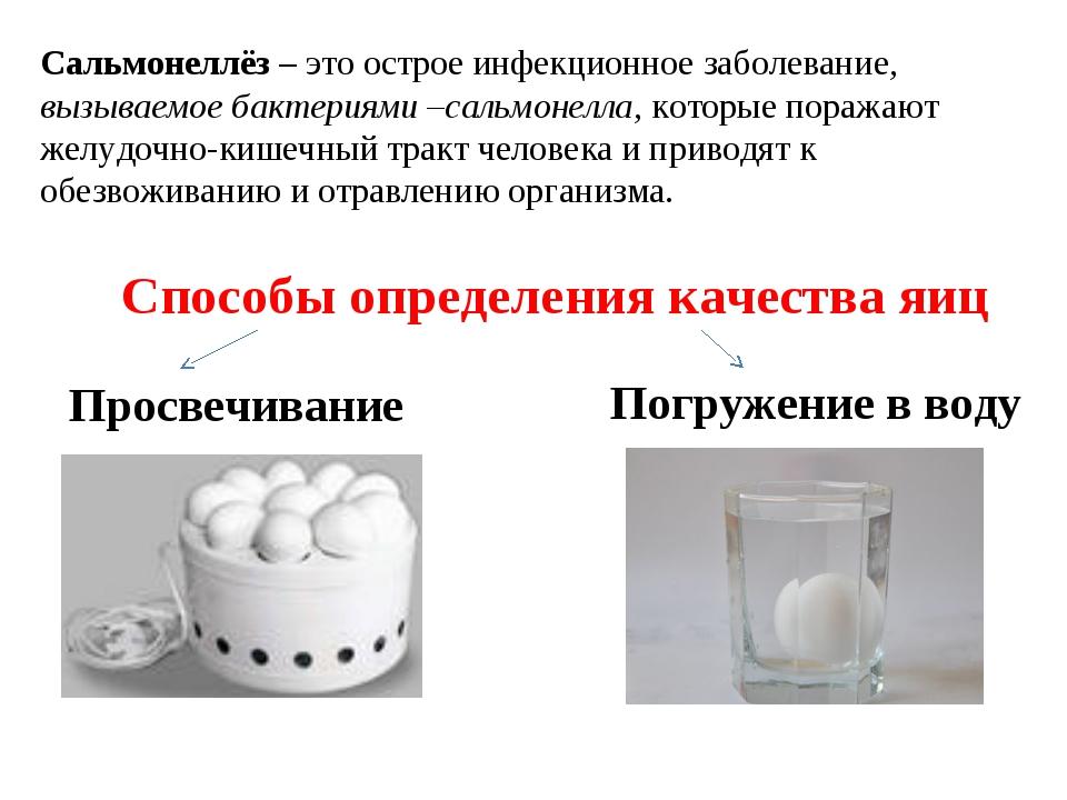 Способы определения качества яиц Просвечивание Погружение в воду Сальмонеллёз...