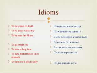 Idioms To be scared to death To be green with envy To be over the Moon To go